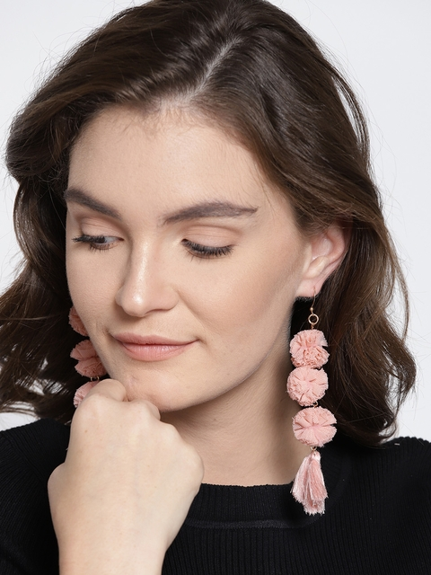 ChicMela Peach-Coloured Tasselled Contemporary Drop Earrings