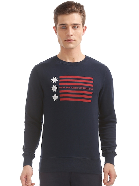 GANT Men Blue Printed Sweatshirt