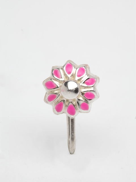 TJORI Women Pink Chakra Silver Enamelled Nosepin