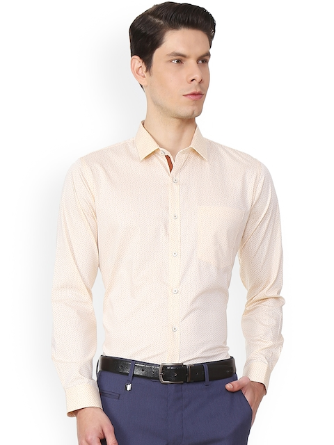 Van Heusen Men Beige Slim Fit Printed Formal Shirt