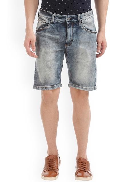 IZOD Men Blue Solid Slim Fit Denim Shorts