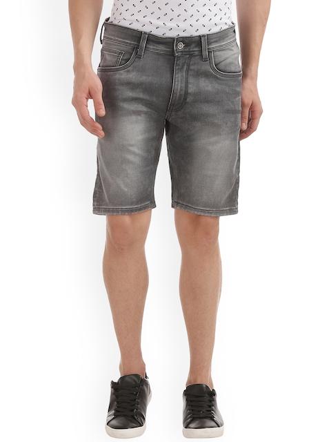 IZOD Men Grey Solid Slim Fit Denim Shorts