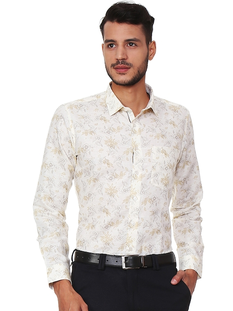 Van Heusen Men Beige Slim Fit Printed Semiformal Shirt
