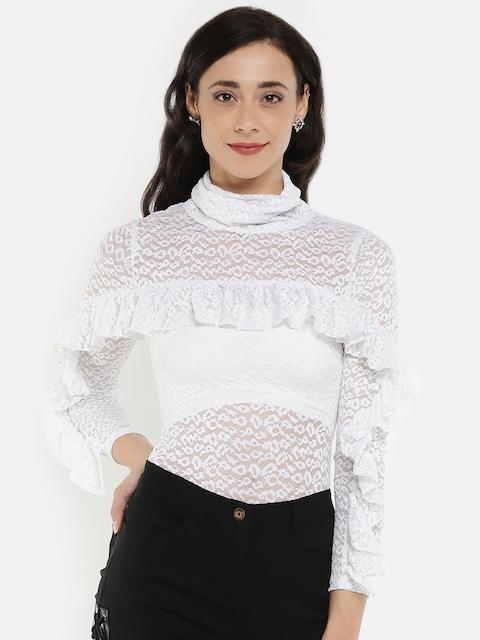 Benoit Women White Lace Bodysuit