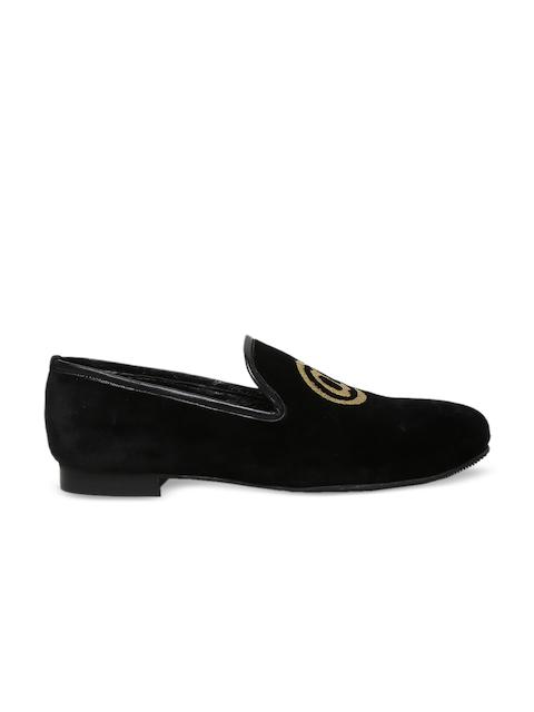 BARESKIN Men Black Velvet Loafers