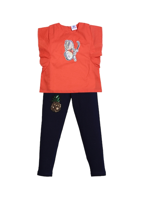 LilPicks Girls Orange & Navy Solid Top with Leggings
