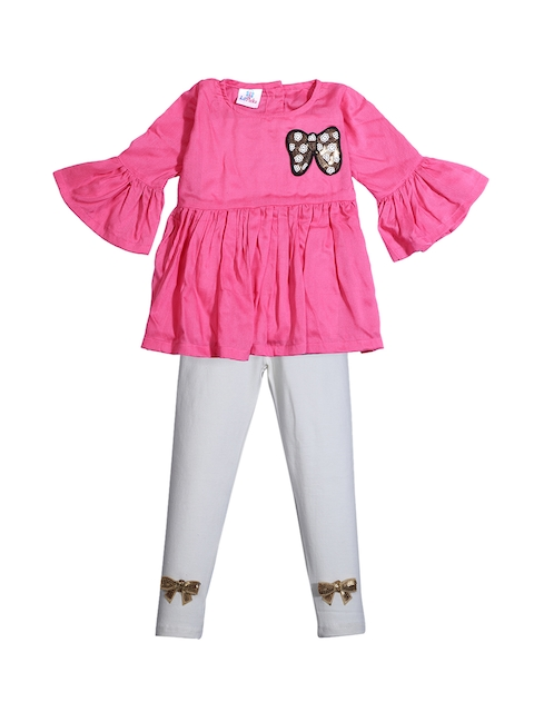 LilPicks Girls Pink Solid Top with Leggings
