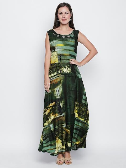 Ishin Women Green Printed Anarkali Kurta