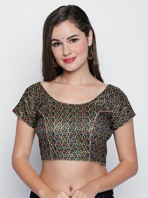Ishin Multicoloured Woven Design Saree Blouse