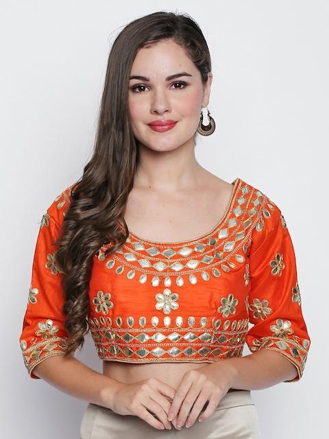 Ishin Women Orange Embellished Saree Blouse