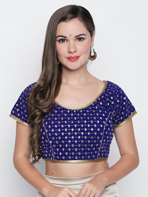Ishin Blue Embroidered Velvet Saree Blouse