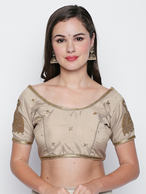 Ishin Beige Embellished Saree Blouse