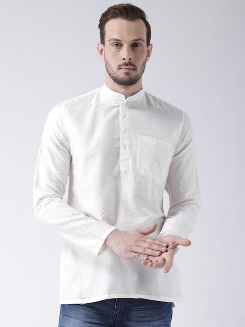 KISAH Men White Woven Design Straight Silk Kurta