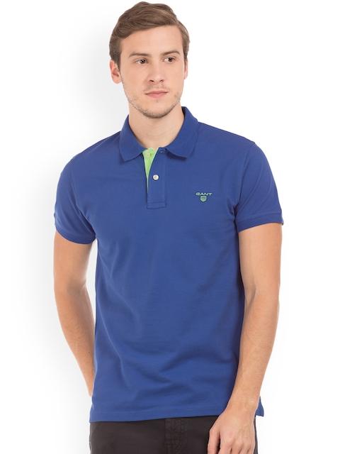 GANT Men Blue Solid Polo Collar T-shirt