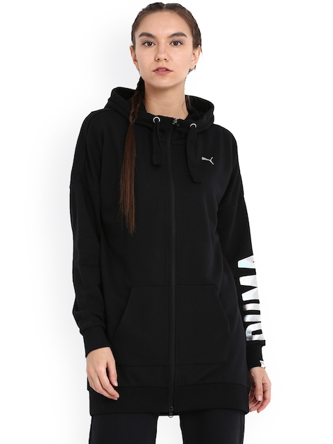 Puma Women Black Printed Hooded FUSION Elongated FZ Sporty Jacket