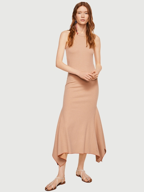 MANGO Women Beige Solid A-Line Dress