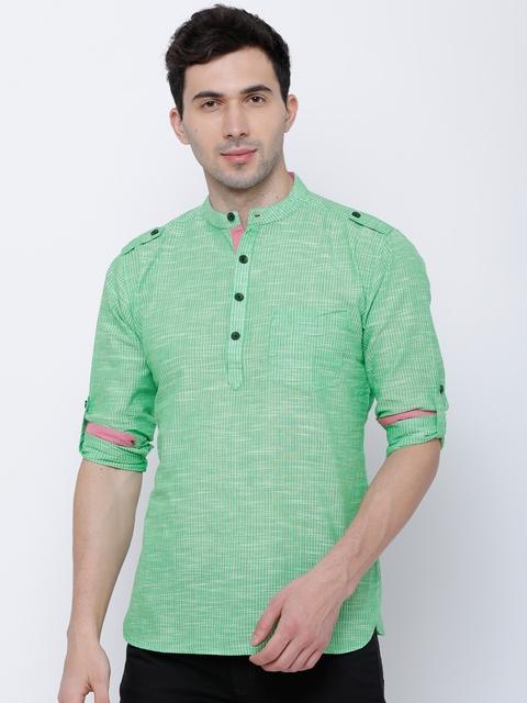 Svanik Men Green Woven Design Straight Kurta