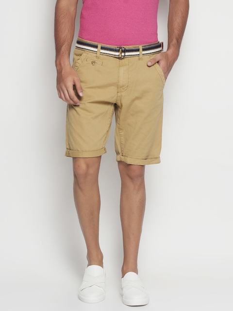 INDICODE Men Khaki Solid Slim Fit Chino Shorts