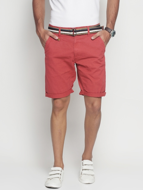 INDICODE Men Red Solid Slim Fit Chino Shorts