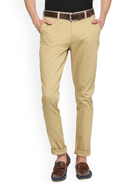 Van Heusen Sport Men Beige Slim Fit Solid Regular Trousers