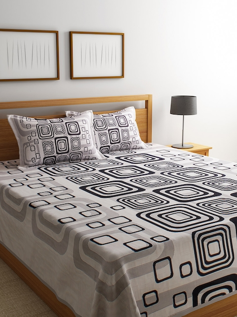 ROMEE Off-White & Black Printed 220 TC Reversible Double Bed Cover with 2 Pillow Covers
