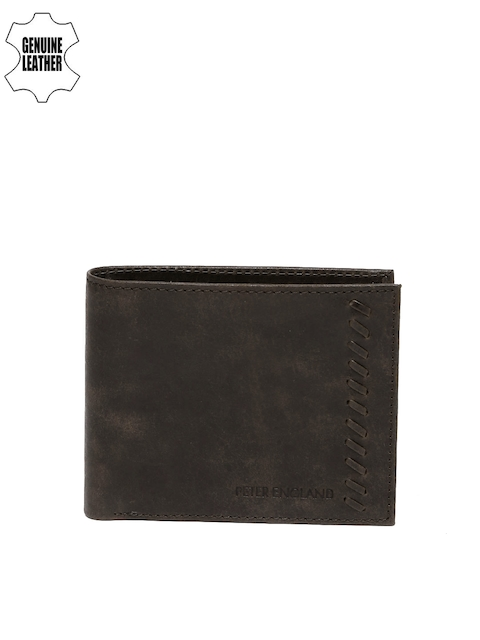 Peter England Statements Men Brown Textured Two Fold Wallet