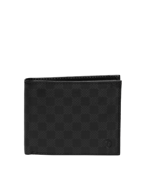 Peter England Statements Men Black Textured Two Fold Wallet