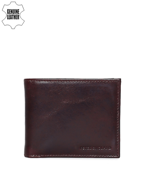 Peter England Men Brown Solid Two Fold Genuine Leather Wallet