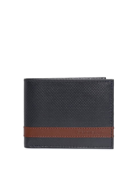 Peter England Men Navy Blue & Brown Textured Two Fold Wallet