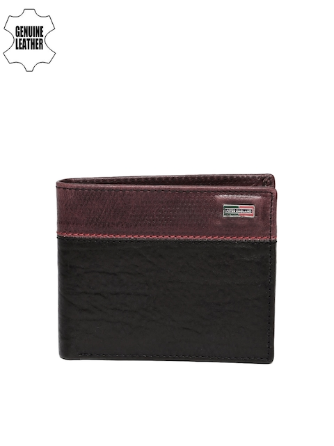 Peter England Statements Men Black & Red Textured Two Fold Wallet