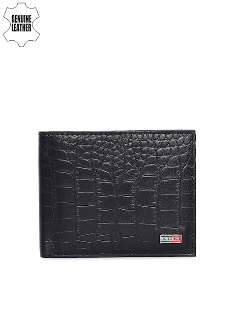 Peter England Men Black Textured Two Fold Genuine Leather Wallet
