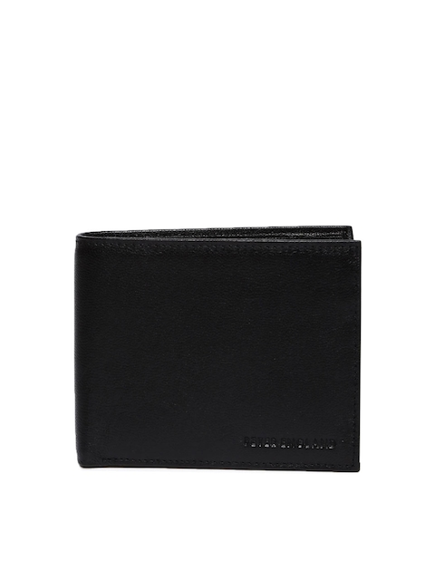 Peter England Statements Men Black Solid Two Fold Wallet