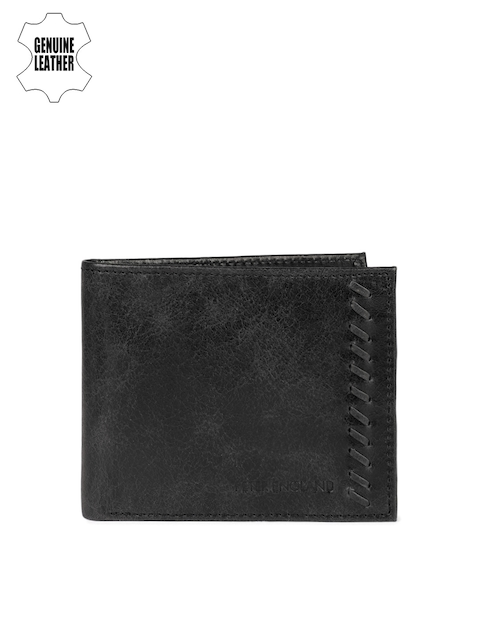 Peter England Men Black Solid Two Genuine Leather Fold Wallet