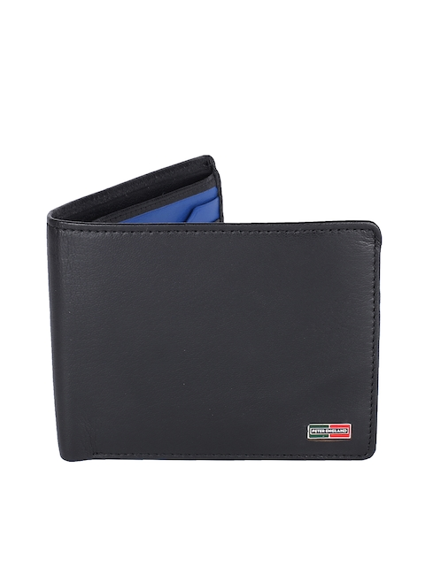 Peter England Men Black & Blue Colourblocked Two Fold Wallet
