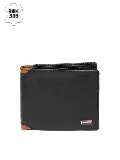 Peter England Men Black Genuine Leather Two Fold Wallet