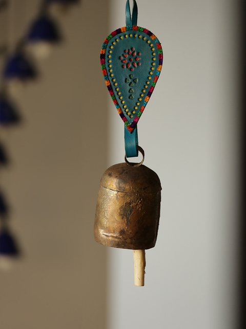 ExclusiveLane Copper & Teal Green Handmade Antique Bell Windchime