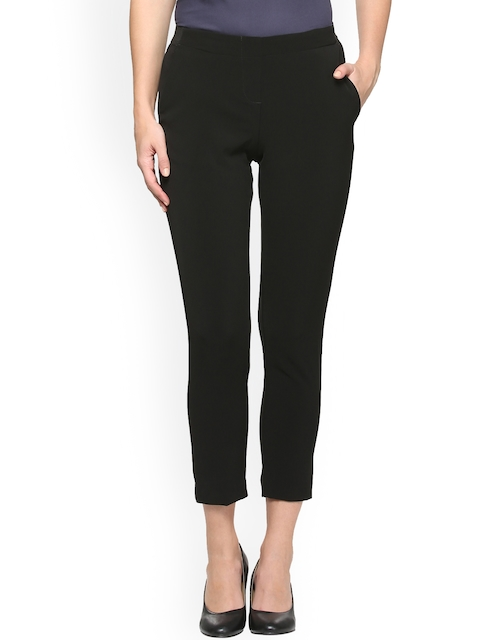 Van Heusen Woman Women Black Solid Formal Trousers