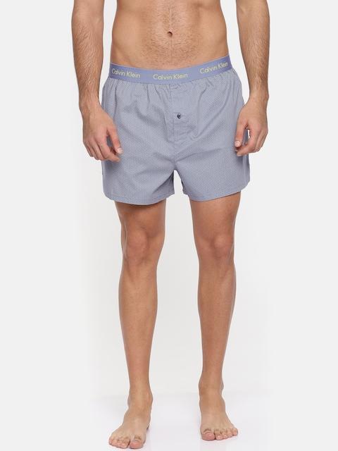 Calvin Klein Innerwear Blue Geometric Printed Slim Fit Boxers U1513KC6