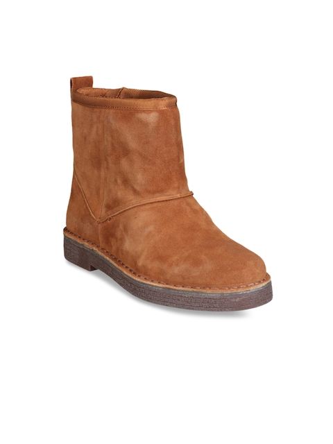 Clarks Women Tan Brown Leather Mid-Top Flat Boots