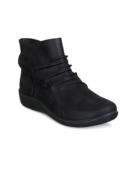 Clarks Women Black Solid Leather Mid-Top Flat Boots
