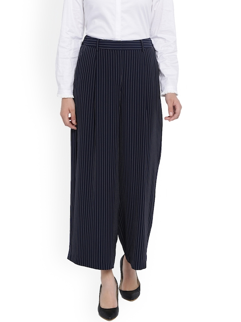 Van Heusen Woman Women Blue Regular Fit Striped Culottes