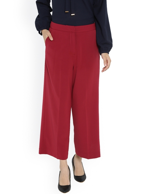 Van Heusen Woman Women Maroon Regular Fit Solid Culottes