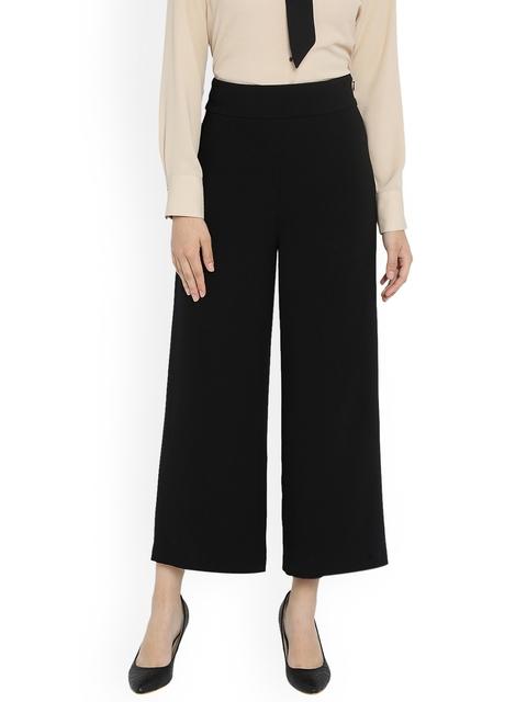 Van Heusen Woman Women Black Regular Fit Solid Culottes