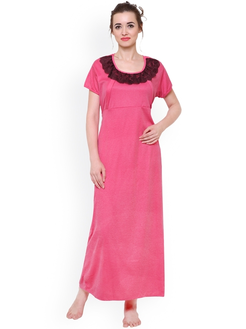 Klamotten Pink Solid Maternity Feeding Nightdress F7R