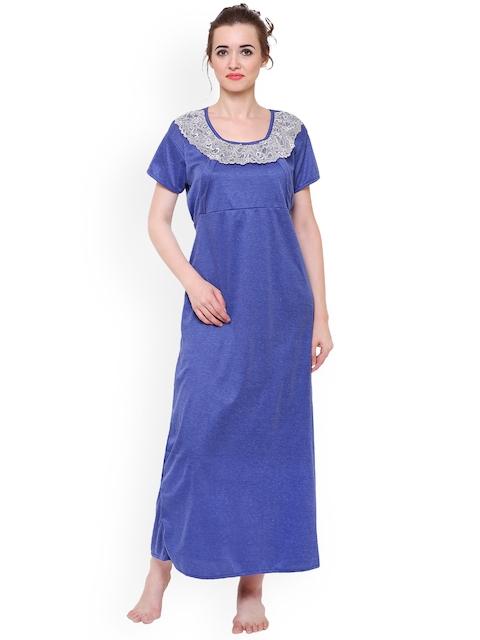 Klamotten Blue Solid Maternity Feeding Nightdress F7Nr