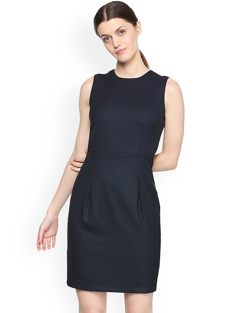 Van Heusen Woman Black Solid Sheath Dress