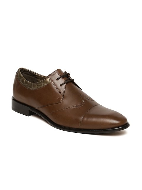 Language Men Brown Genuine Leather Formal Derbys