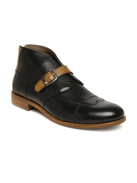 Language Men Black Mid-Top Leather Boots