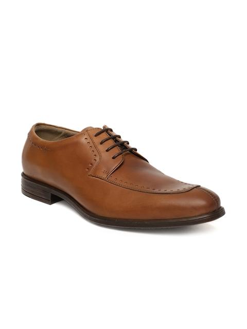 Language Men Tan Leather Derby Shoes