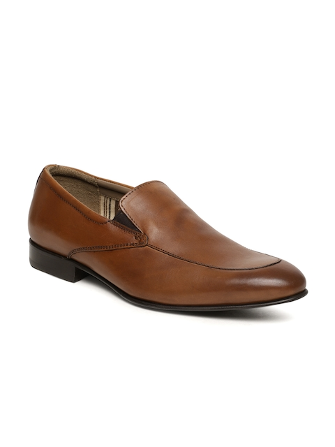 Language Men Brown Leather Slip-on Formal Shoes